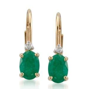 14k Emerald  diamond earrings